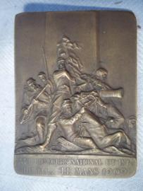 Bronse plaque de tir, ville de Mans, Bronzen Fransen schiet plaquette zeer decoratief en scherp geslagen 1909.