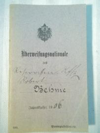 German Uberweisungsnationale, soldbuch 1906.