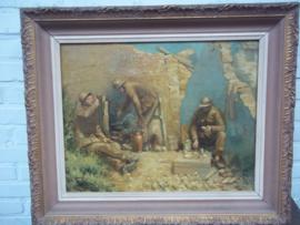 TOP TOP schilderij VENNEKENS 1914- 1918.  Belgische soldaten tijdens een gevechtspauze zeer decoratief, 40 bij 60 cm