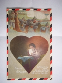 German postcard Romantic 1916 Feldpoststation. Duitse postkaart met onleesbare divisie stempel