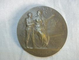 Belgium bronze plaque 5 cm. Belgische penning, voor goed gedrag prijspenning .