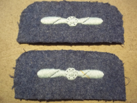 Set RAF sleeve badges Mechanic. 1 paar mouwemblemen RAF kwalificatie embleem vliegtuig monteur. WO2 uitvoering