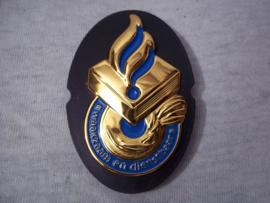 Nederlands politie brevet metaal Waakzaam en Dienstbaar. Dutch police breast badge.