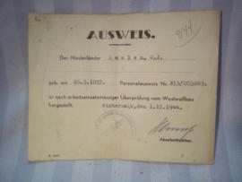 German Ausweis. Duitse Ausweis, gebuikt bij de Westwall bau. mooi gestempeld