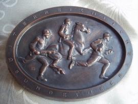 Austrian table-medal.1928.Oostenrijkse plaquette met bronslaag 14 bij 10 cm. Oostenrijkse Bundesheer.