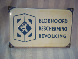 Enamel door sign Dutch Civil defense WARDEN. Deurpostbordje emaille BB