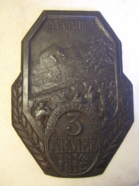 Austrian iron remembrance plate KARPATHEN durchhalten 3 Armee 1914-1915.
