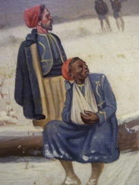 Painting small size 17 bij 14 cm by Christiaan Sell, very famous. Schilderij op hout gevangen koloniale soldaten TOP