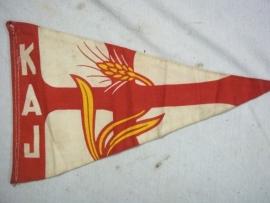 Pennant Katholic Labour Youth, vaantje dubbelzijdig Katholieke Arbeiders Jongeren uit de jaren 40.