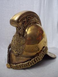 British fire helmet Merry- Weather. used condition. Egelse brandweerhelm typisch model, in gedragen staat.