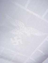 German tablecloth with woven Luftwaffe eagle and FLAKREGIMENT 14.Duits tafelkleed meet geweven adelaar datum 1938 en Flakregiment zeer bijzonder.