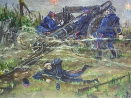 Painting oil on canvas, signed by a battlefield artist. Schilderij franse artilleriestelling in WO1 word aangevallen, gesigneerd TOP