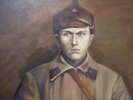 Nieuw schilderij, Russische soldaat met kozakken zwaard en typische muts. groot formaat; 90 bij 70 cm. geschildert rond 1995- 2005..