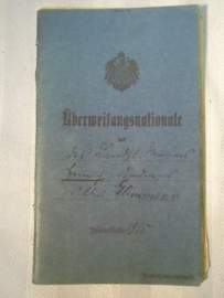 German Uberweisungsnationale soldbuch landsturmschein 1884- 1915