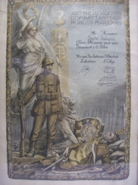 Belgische herinneringsprent, ingelijst van een oud strijder1914 1918 wonende in de plaats Etterbeek