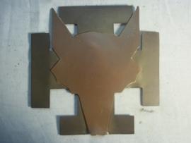 Scouting plaque Dutch Fox head. on both sides. Nederlands padvinders embleem met vossenkop het embleem bestaat uit drie delen. 17 bij 17 cm