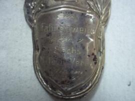 German stocknagel with widmung. Vaandelstok plaatje met EK1 1914 MILITARVEREIN WILTHEN 1927, zilver.