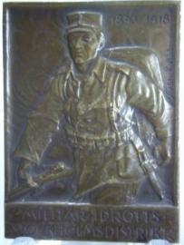 Sports plaque of the Sweden army 1919.Sportpenning van het Zweedse leger brons