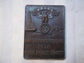 German NSKK plaque. Duitse herinnerings plaquette, NSKK Kraftfahrt Korps Winterprufungsfahrt 1936 - Motorbrigade Sud- West.