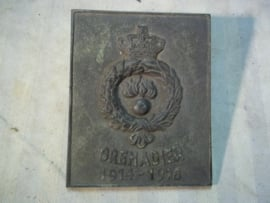 Bronse plaque Belgium Grenadier 1914-1918. Bronzen herinnerings plaquette Grenadier 1914-1918 Belgie. vrij zeldzaam 11 bij 14 cm.