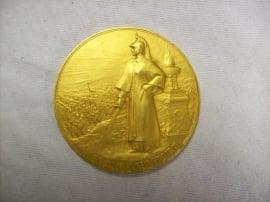 French medal in case Militair Francais, gilded.Franse penning met dragonder, vuurverguld in doos ZELDZAAM