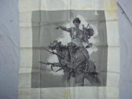 Silk patriotic Italian handkerchief, 1915.Zijden zakdoek Italiaans, Soldaten worden naar het front gestuurd door Vrouwe Justitia.