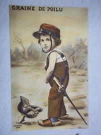 French postcard, child with French kepie pies in Pickelhaube. Postkaart komisch Jongen plast in Pinhelm