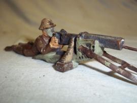 Toy soldier, made by Lineol Germany Belgium with gasmask behind Machine gun.Speelgoed soldaatje Belg met gasmasker achter MG goede staat