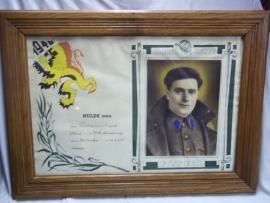Belgium remembrance of a Air Force regiment soldier in 1940 very rare.Belgische herinneringsplaat van een soldaat die in 1940 dienst deed bij het Luchtvaart Regiment apart