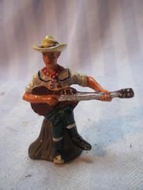 Elastolin, Durso, Lineol cowboy met gitaar kampleven, goede staat