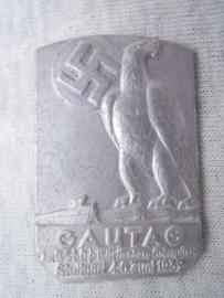 German tinnie, rally badge, Duitse tinnie  Gautag Stuttgart 1937.