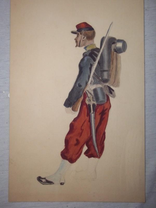 Water-coloured painting of a French soldier 1870 early 1914, the artist did not finished it.Aquarel franse soldaat 1870 begin 1914, rechter been is getekend, maar niet ingekleurd, is ingelijst 18 bij 23 cm.