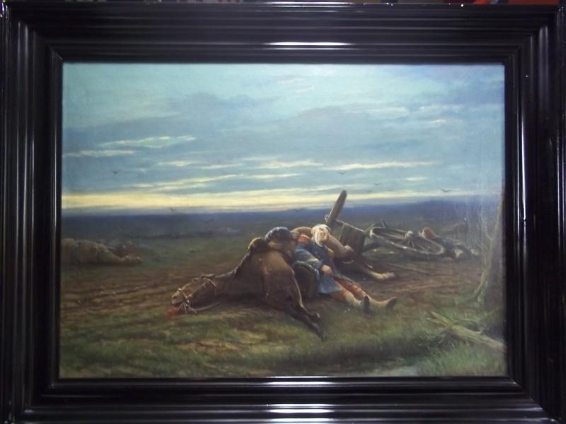 Painting first world war after the battle. Schilderij met als afbeelding een Franse soldaat bij zijn paard. Zeer deskundig geschilderd op canvas, groot formaat
