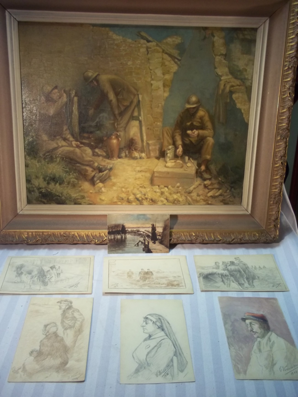 6 andere schetsen gemaakt op papier door de kunstenaar VENNEKENS, verpleegster, dokter en militaire afbeeldingen, 1 met hoogstwaarschijnlijk daarop afgebeeld de Belgische koning allen zeer decoratief, mooi document.