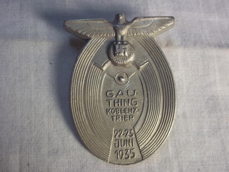 German tinnie lightweight metal Trier Koblenz Gauthing 22-23 juni 1935. Duitse tinnie Aluminium 1935