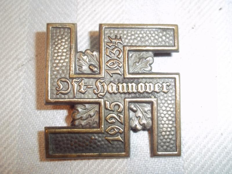 German tinnie Ost- Hannover  1925- 1934 NSDAP- SA rally badge. Duitse tinnie NSDAP mooie kwaliteit.