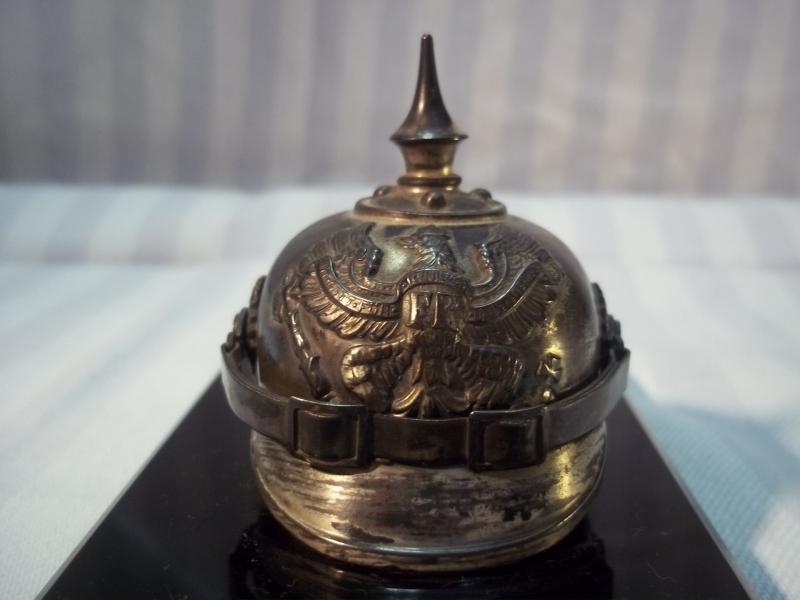 Miniature spikehelmet, WMF mark. Miniatuur pickelhaube, verzilverd, manschap Pruisen.