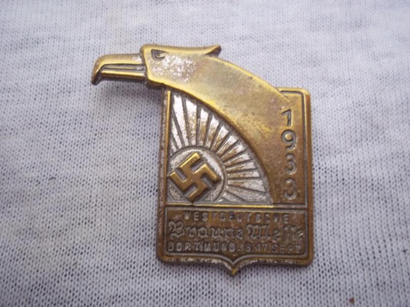 German tinnie, Rally badge, Duitse tinnie Westdeutsche Braune Messe Dortmund  8-12 september 1933.