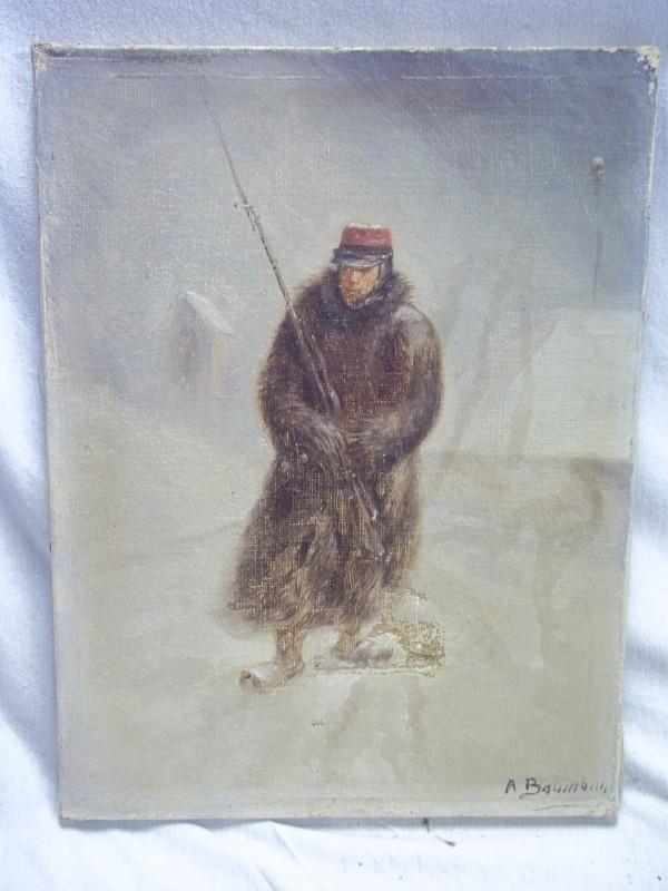 Painting oil on canvas, French soldier crimean war. little damage.Schilderij olie op doek Franse soldaat in winterkleding  op zijn post gesigneerd.kleine beschadiging