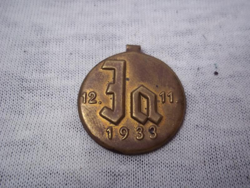 German election badge Duits verkiezings speldje voor de JA stemmers. 1933