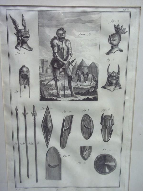 Original lithography of old armour.Oude steendruk op geschept papier omstreeks 1750 over oude wapenrusting. origineel apart