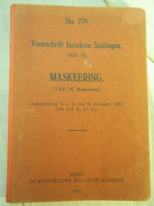 Dutch instruction book Camouflage. Nederlands instructieboek Maskeeringen voor 1940