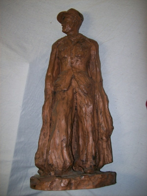 Big statue of a French Foreign Legionair, terracotta, Spahis in the dessert,signed.