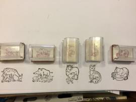 Set van 5 beloningsstempels 'dieren'
