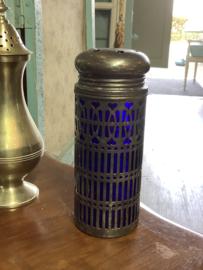 Suikerstrooier blauw glas/verzilverd 13 cm