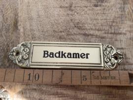 """Koperen deurplaatje """"Badkamer """""""