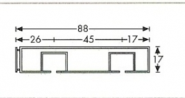 2 spoors profi rail wit 100 cm tot 600 cm