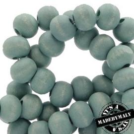 Houten kraal 8 mm rond aqua haze blauw