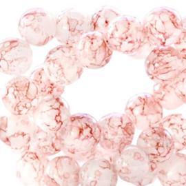 Glaskraal 8 mm transparant gemêleerd rose brown, 30 stuks