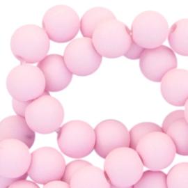 Mat acryl kralen rond 6mm Licht roze, 40 stuks